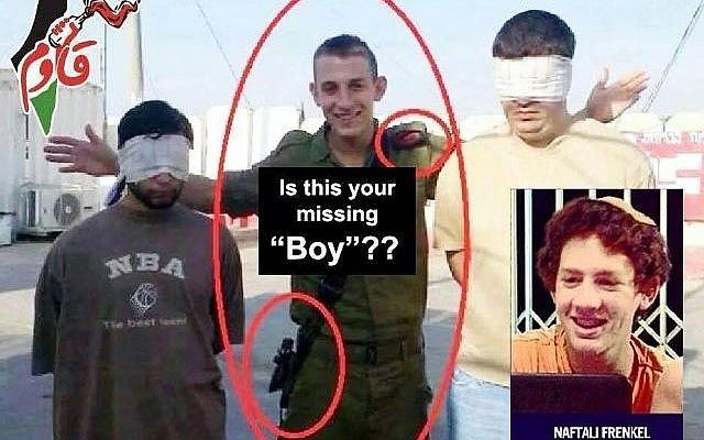 A viral Facebook image claiming kidnapped teenager Naftali Fraenkel is actually a soldier (photo credit: Facebook image)
