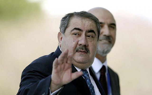 Iraqi Foreign Minister Hoshyar Zebari arrives at an EU-Arab league Foreign Ministers summit in Athens, on Wednesday, June 11, 2014. (photo credit: AP Photo/Petros Giannakouris)