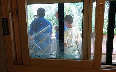 A broken window from a rocket strike on Sdot Negev Monday morning. (photo credit: Sdot Negev spokesperson)