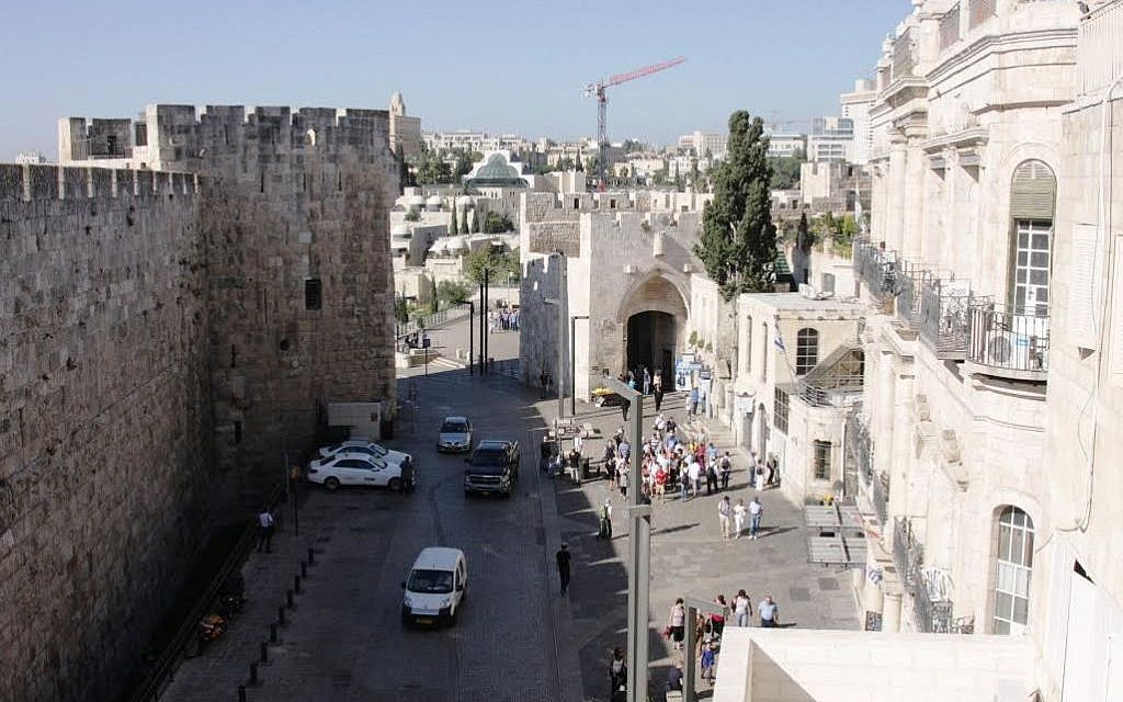 Jaffa Gate viewed from the Petra hostel (photo credit: Shmuel Bar-Am)