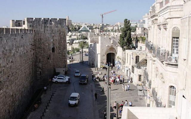 Jaffa Gate viewed from the Petra hostel (photo credit: Shmuel Bar-Am)