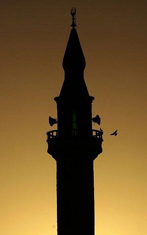 A bird flies towards the minaret of a mosque in the West Bank refugee camp of Jenin, June 28, 2014. (photo credit: AP/Mohammed Ballas)