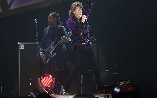 The Rolling Stones' Mick Jagger performing in Tel Aviv, June 4, 2014 (Photo credit: Orit Pnini)