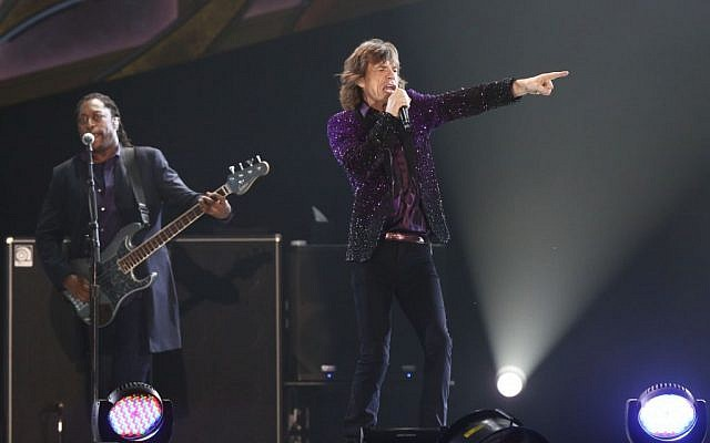 The Rolling Stones' Mick Jagger on stage in Tel Aviv, June 4 (Photo credit: Orit Pnini)
