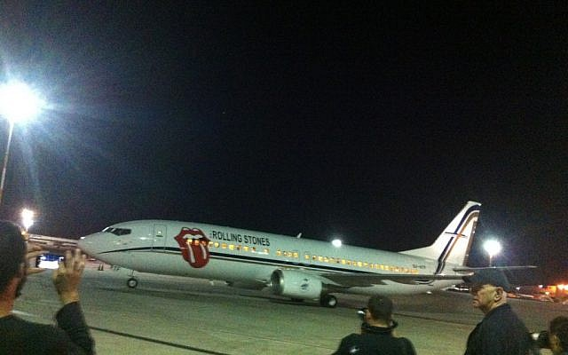 The Rolling Stones land at Ben Gurion Airport (photo credit: Courtesy)