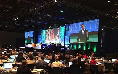 Rabbi Rick Jacobs, president of the Union for Reform Judaism, addressing the General Assembly of the Presbyterian Church (U.S.A.) to urge them to reject divestment, June 19, 2014. (photo credit: JTA)
