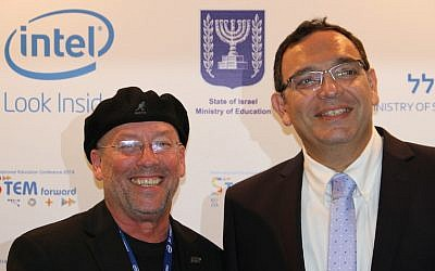 Intel Vice-President Mooly Eden (L) and Education Minister Shai Piron at the Intel Israel STEM Conference (Photo credit: Courtesy)