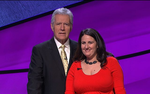 Rabbi Sari Laufer, with 'Jeopardy' host Alex Trebek. (Courtesy Jeopardy Productions, Inc.)