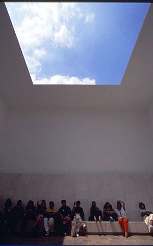 "Sitting and contemplating the ""Space That Sees"" by James Turrell (Courtesy Israel Museum)"