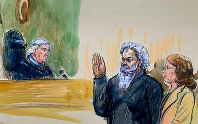 This artist's rendering shows US Magistrate Judge John Facciola swearing in Libyan militant and alleged Benghazi attack ringleader Ahmed Abu Khatallah, wearing a headphone, as his attorney Michelle Peterson looks on during a hearing at the federal US District Court in Washington, Saturday, June 28, 2014. (AP Photo/Dana Verkouteren)