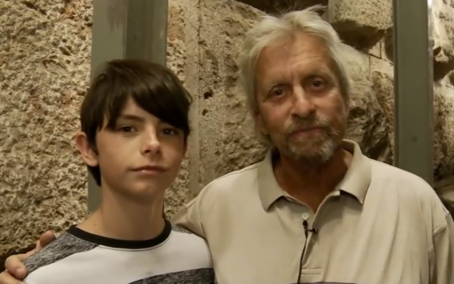 Dylan and Michael Douglas at the City of David tour (Courtesy City of David YouTube)