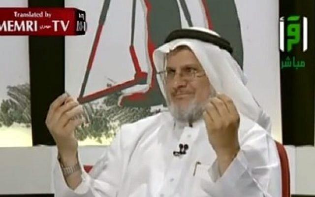 Saudi scholar Nabil Hammas explains the Jewish-Zionist conspiracy in a TV interview (Photo credit: Youtube screen capture)