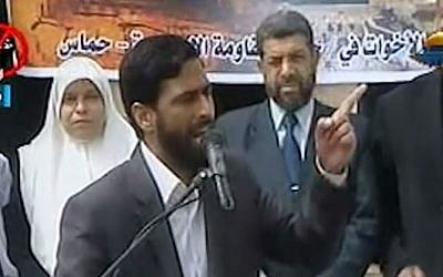 Senior Hamas official Mushir Al-Masri. (screen capture: YouTube/idfnadesk)