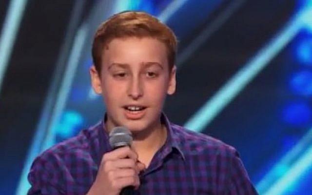 "12-year-old Josh Orlian on ""America's Got Talent"" (photo credit: Youtube screenshot)"