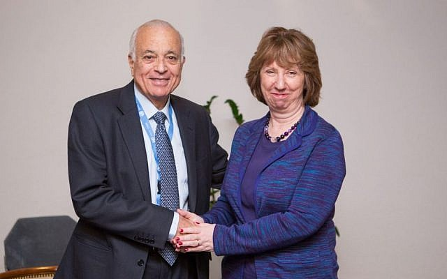 Nabil Elaraby, Secretary General of the League of Arab States, left, and EU foreign policy chief Catherine Ashton (photo credit: European Union)