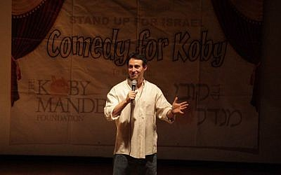 Avi Liberman on stage in Comedy for Koby. (photo credit:  Yissachar Ruas)