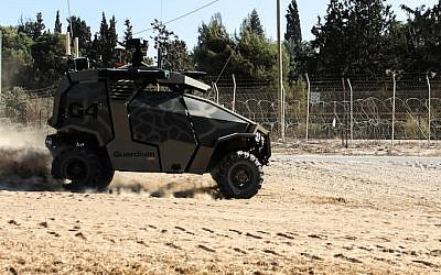 A Guardium UGV on patrol along the Gaza border fence (Photo credit: Courtesy IDF)