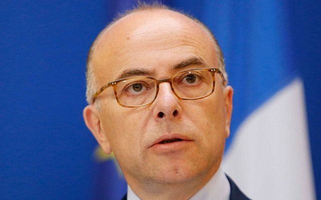 French Interior Minister Bernard Cazeneuve addresses the media in Paris, Sunday, June 1, 2014. (photo credit: AP/Jacques Brinon)