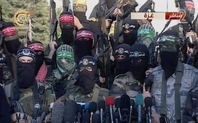 Gazan terror groups giving a press conference in Gaza Tuesday. (Screen capture: Channel 2)