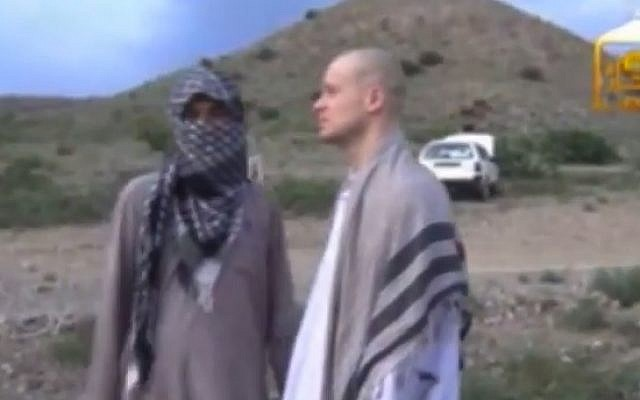 A video released by the Taliban purports to show Bowe Bergdahl being handed over to US troops. (photo credit: YouTube screen capture)