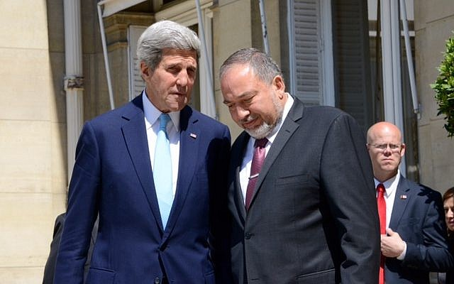 John Kerry, left, and Avigdor Liberman in Paris Thursday, June 26, 2014. (photo credit: Erez Lichtenfeld)