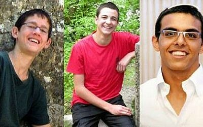 The three kidnapped and murdered  teens, from left to right: Naftali Fraenkel, Gil-ad Shaar and Eyal Yifrach (photo credit: Courtesy)