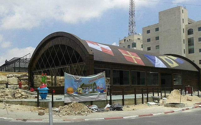 The Krusty Krab, currently under construction, in the West Bank city of Ramallah (photo credit: Krusty Krab official Facebook page)
