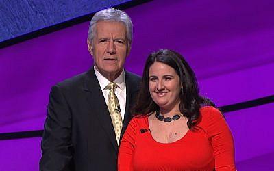 "Rabbi Sari Laufer, with ""Jeopardy"" host Alex Trebek, will appear on the show Wednesday night. (Courtesy Jeopardy Productions, Inc.)"