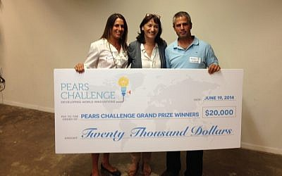 Nitzan Solan (L) and  Mendi Pollak (R) flank Dr. Aliza Belman Inbal, who presents them with the $20,000 Pears Challenge award for Livingbox (Photo credit: Courtesy)