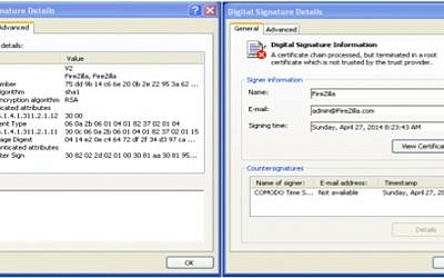 Screenshot of a forged Microsoft security certificate that victims of the Molerats attack clicked on (Photo credit: Courtesy)