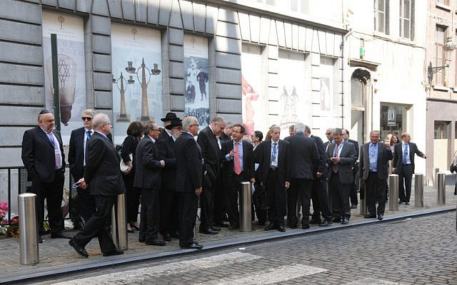 A delegation of 25 Jewish leaders outside the Brussels Jewish museum, Monday, June 2, 2014 (photo credit: Surya Jonckheere/Times of Israel)
