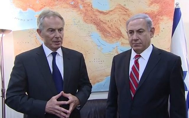 Prime Minister Benjamin Netanyahu (right) with then Middle East Quartet envoy Tony Blair, on June 17, 2014 (Youtube screen cap)