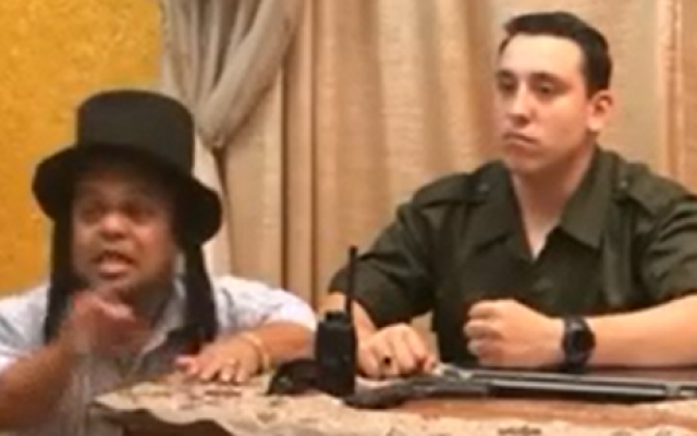 A scene from a Palestinian parody of the kidnapping of three Israeli teens. (screen capture: YouTube/PalTube)