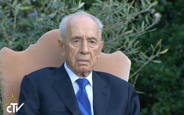 President Shimon Peres at a Vatican prayer gathering for Mideast peace, Sunday, June 8, 2014. (Screengrab of Vatican live feed)