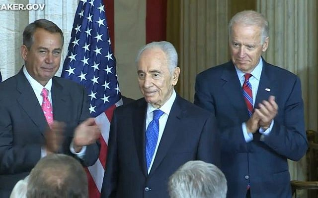 President Shimon Peres at a ceremony upon his reception of the Congressional Gold Medal on Thursday, June 26, 2014 (screen capture: YouTube)