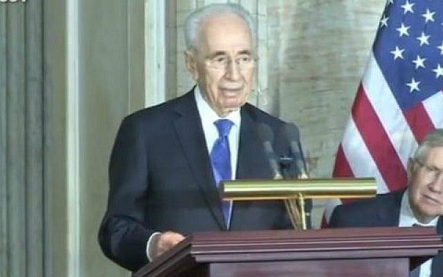 President Shimon Peres addresses the US Congress after being awarded the Congressional Gold Medal, July 26, 2014 (photo credit: YouTube screen cap)