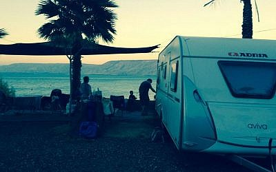 Retro camping on the Kinneret, where the living is easy (photo credit: Jessica Steinberg/Times of Israel)