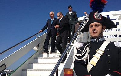 Shimon Peres arriving in Rome Sunday. (photo credit: Mitch Ginsburg / Times of Israel)