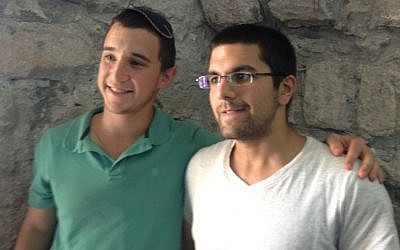Micky Zivan and Or Turjeman, friends and roommates if Eyal Yifrach, at the Shavei Hevron Yeshiva (photo credit: Mitch Ginsburg/Times of Israel)