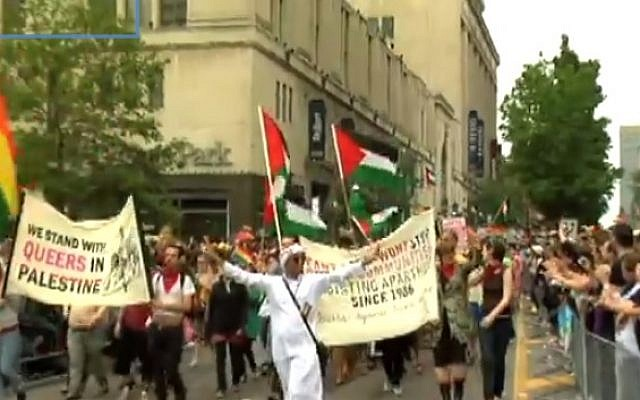 Representatives of Queers Against Israeli Apartheid march in the 2009 Toronto Pride Parade (photo credit: Youtube screenshot)