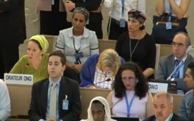 Rachelle Fraenkel (left, in yellow headscarf) addresses the United Nations Human Rights Council in Geneva, Tuesday, June 24, 2014 (screen capture: UN)
