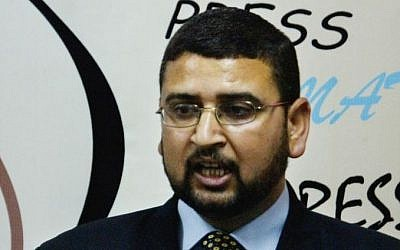 Hamas spokesman Sami Abu Zuhri (photo credit: AP/Hatem Moussa)