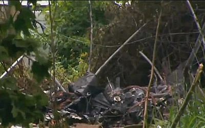 The site in East Patchogue, New York where 53-year-old Israeli recreational pilot Hanan Shoshany's plane crashed on Tuesday, June 17, 2014. (screen capture, CBS)
