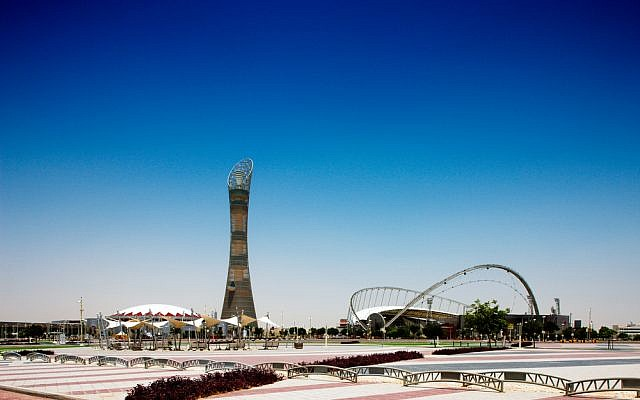 The Khalifa International Stadium and 300-meter-tall Aspire Tower in Doha, Qatar (photo credit: Sophie James/Shutterstock.com)