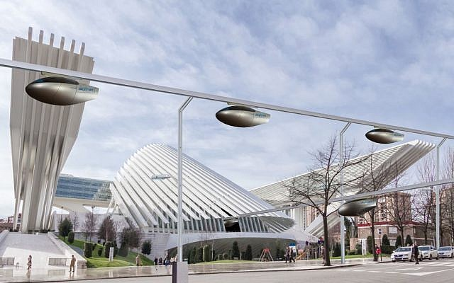 Artist's impression of a skyTran system. (photo credit:  www.skytran.us)