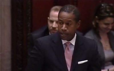 US Senator Malcolm Smith (Dem.) in March 2014. (screen capture, YouTube)