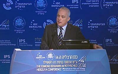 Yuval Steinitz speaking in Herzliya Monday, June 9, 2014. (Screen capture: Herzliya Conference)