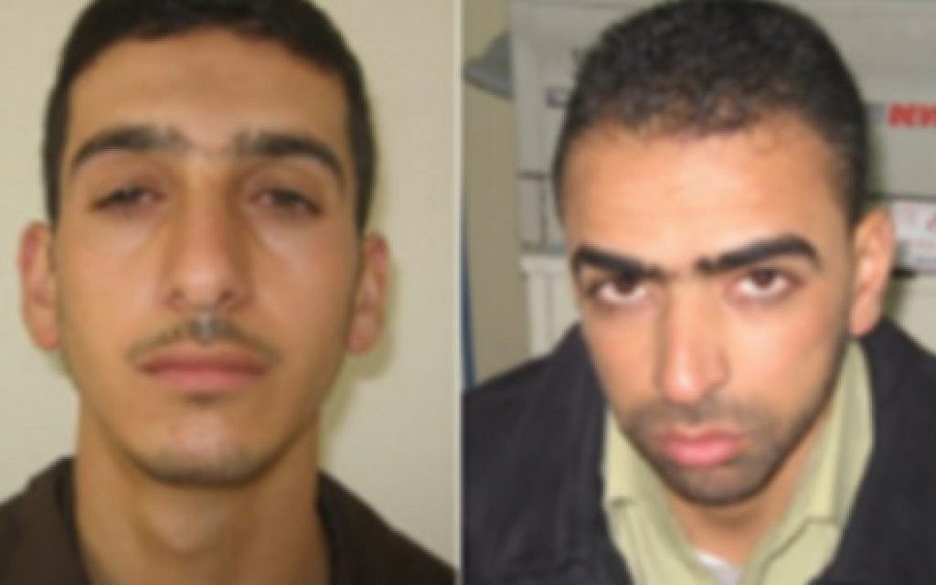 Marwan Kawasme (left) and Amer Abu Aysha (right), suspected by Israel of kidnapping and killing three Israeli teens. (photo credit: Courtesy)