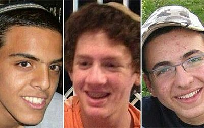 The three Israeli teens, from L-R: Eyal Yifrach, 19; Naftali Fraenkel, 16; and Gil-ad Shaar, 16 (photo credit: Courtesy)