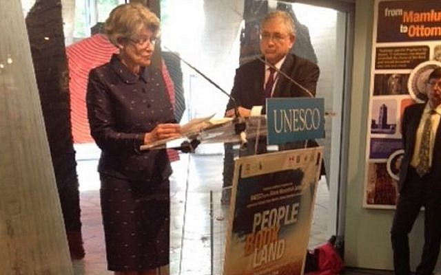 UNESCO's Director General Irina Bokova poses with Rabbi Marvin Hier at the opening of the exhibit on Wednesday. (photo credit: courtesy)